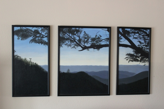 acrylic-painting-Virginia-mountain-sunset-triptych