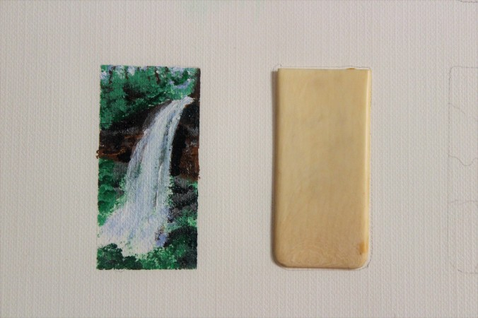 miniature waterfall painting
