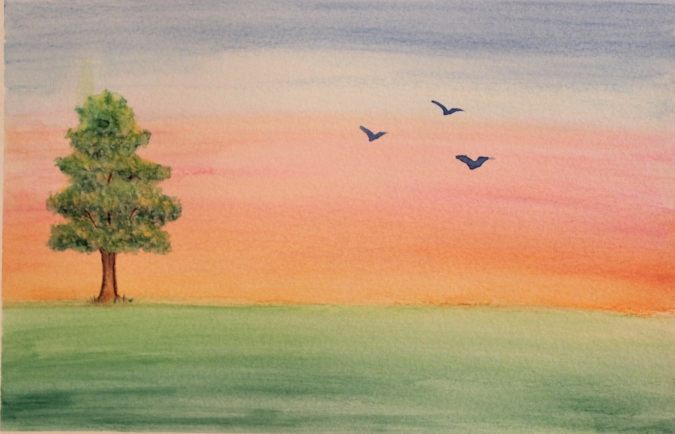 watercolor-painting-day-3-tree-and-birds-at-sunset