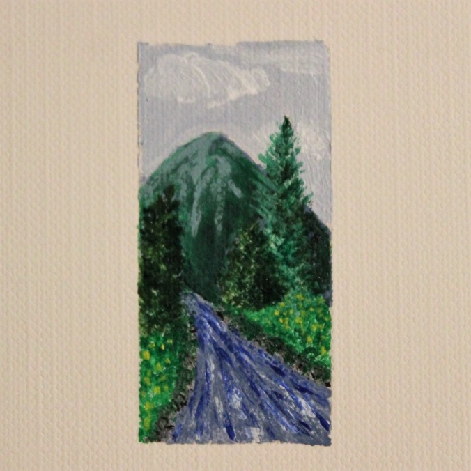 mountain river miniature painting