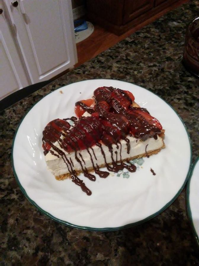 Delectable homemade strawberry-chocolate cheesecake