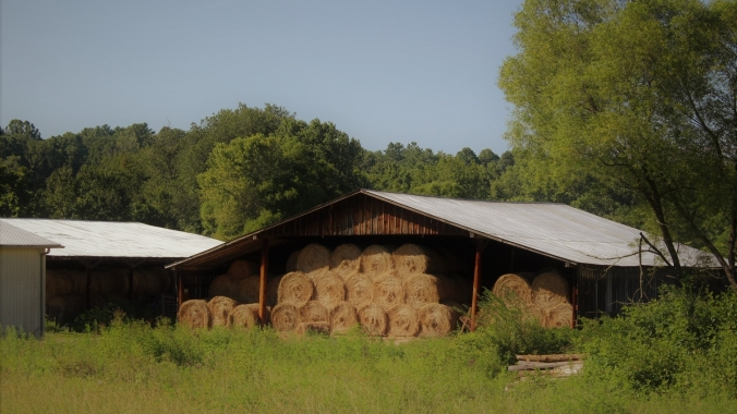 barn filled with hay bales