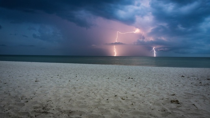 lightning storm off the coast