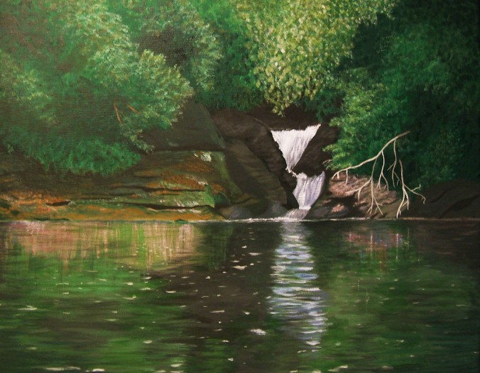 acrylic painting of a peaceful cascade