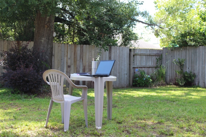 I love to sit outside to write while watching the birds, flowers, butterflies, and squirrels.