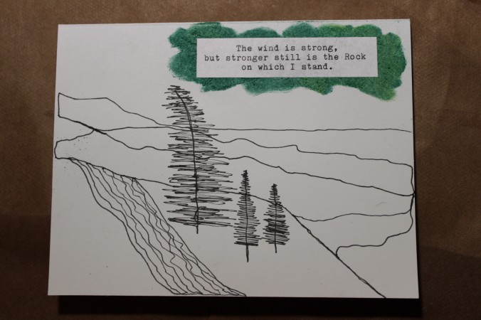 ink drawing of a mountain scene