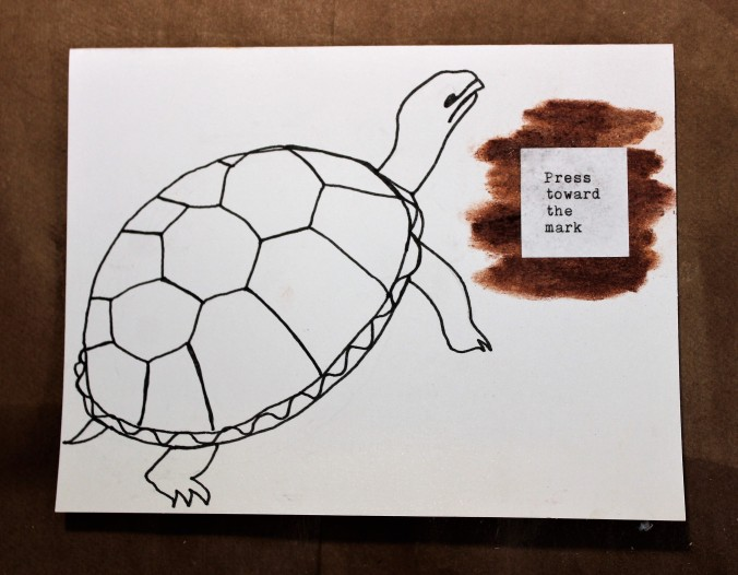 line drawing of a box turtle