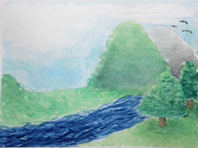 watercolor mountain river scene