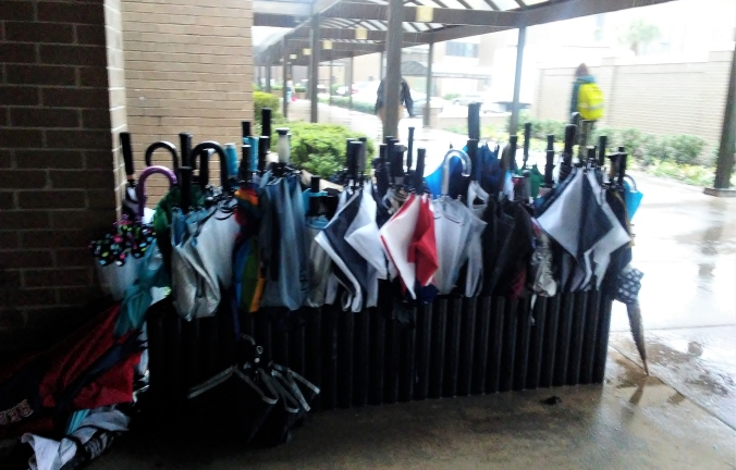 umbrella rack, full, on a rainy day