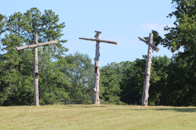 three wooden crosses in an open field