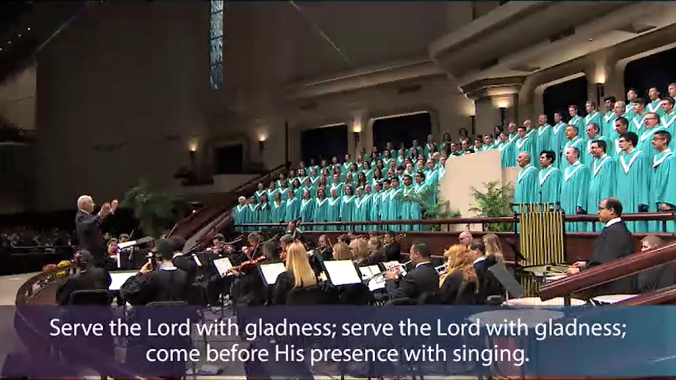 choir and orchestra singing praise to God