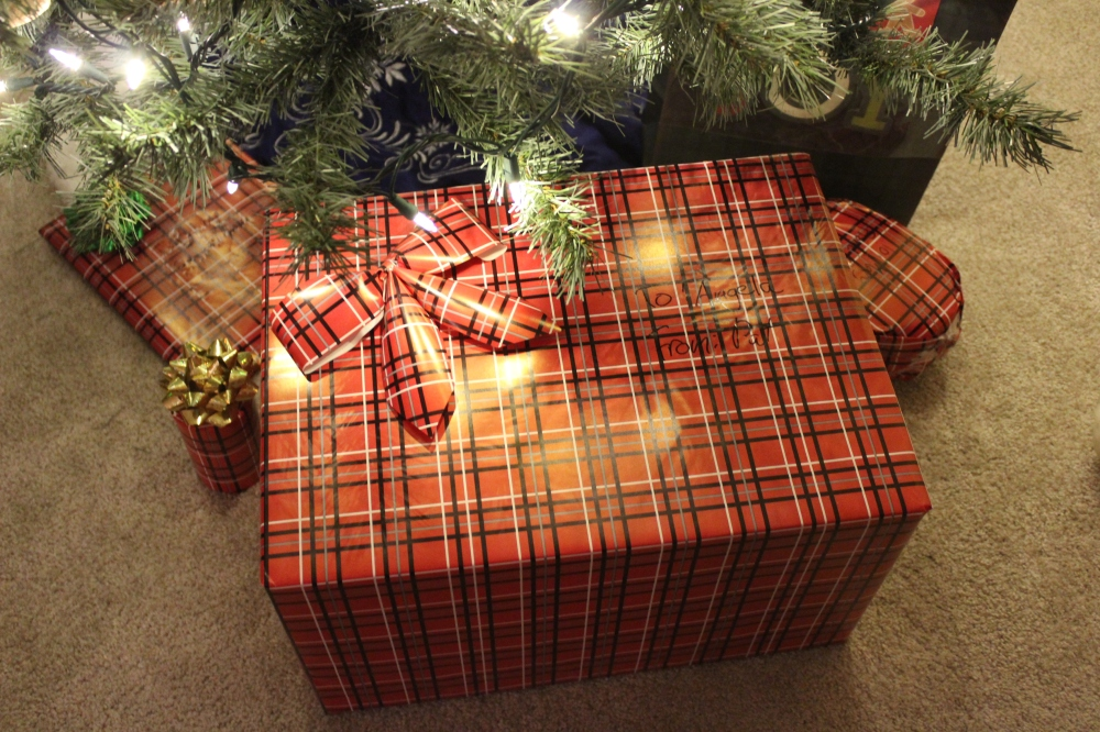 large wrapped gift under Christmas tree